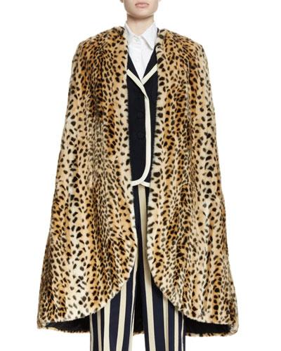 Rupisto Leopard-Print Faux Fur Cape, Natural
