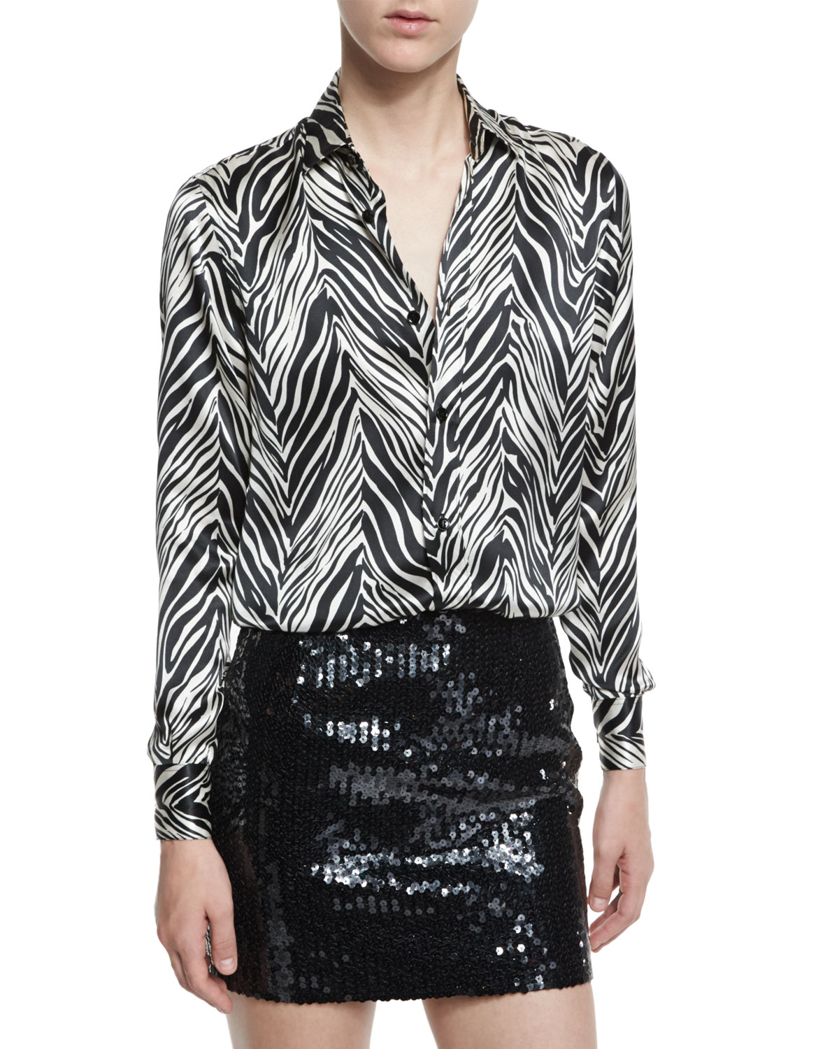 Zebra-Print Silk Blouse, Black/White