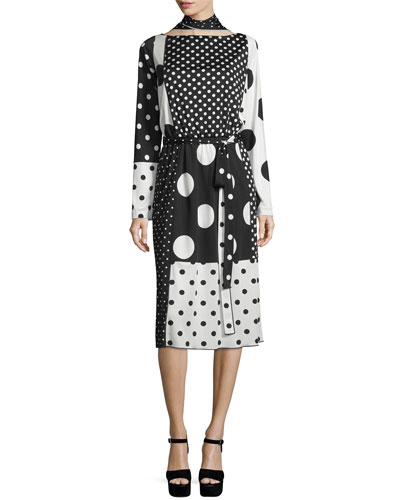 Mixed-Polka Dot Tie-Neck Dress, Black