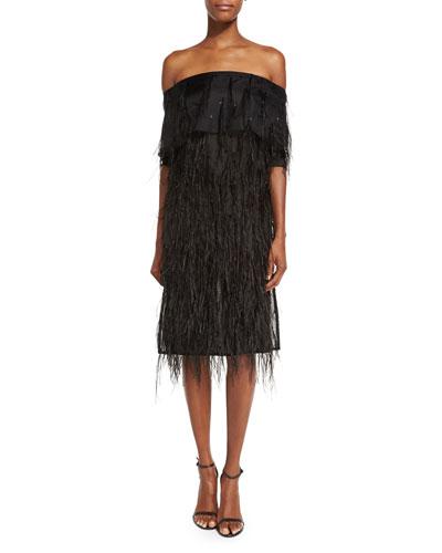 Off-Shoulder Feather-Embellished Cocktail Dress, Black