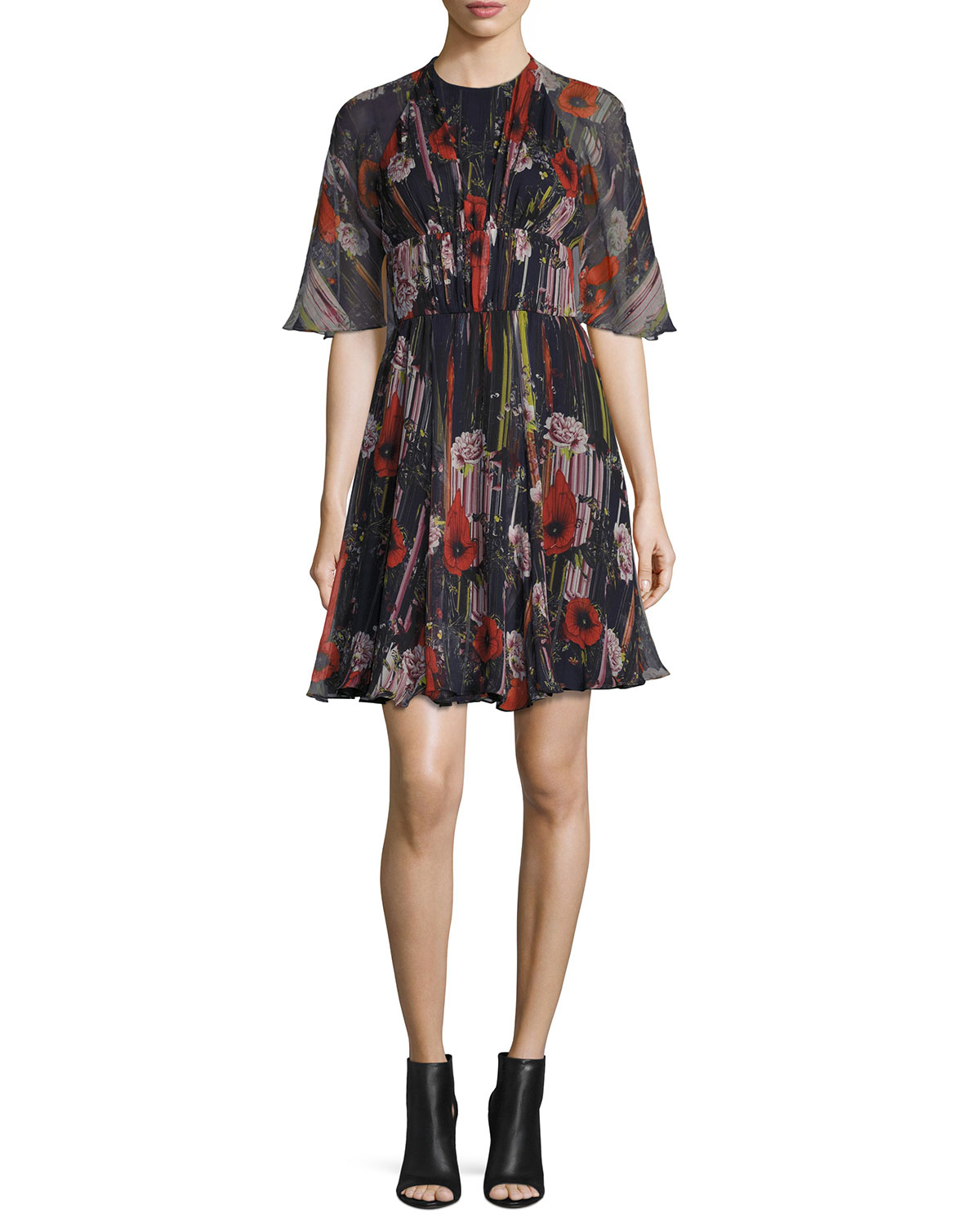 Floral Half-Sleeve Cocktail Dress, Black/Multi