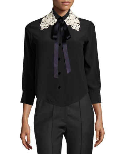 Silk Crepe Blouse w/Lace Tie Collar, Black