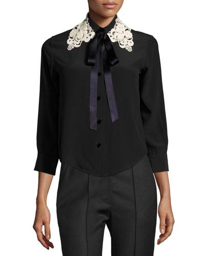 Silk Crepe Blouse w/Lace Tie Collar, Black