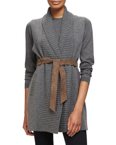 Knit Cashmere Vest w/Leather Belt, Anthracite/Brown