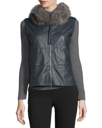 Leather & Cashmere Vest w/Fox Fur Collar, Anthracite