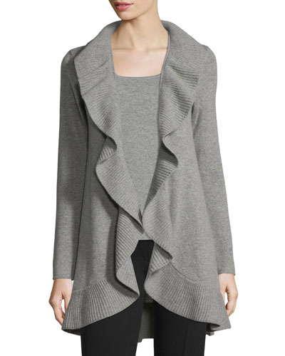 Ruffled Cashmere Cardigan, Gray