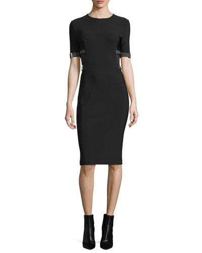 Short-Sleeve Topstitched Sheath Dress, Black