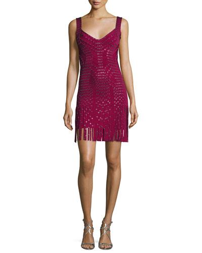 Sleeveless Grommet Fringe-Skirt Bandage Dress, Dark Maroon/Combo