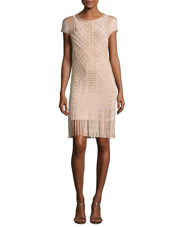 Cap-Sleeve Grommet Fringe-Skirt Bandage Dress, Nude