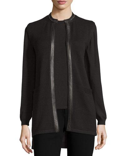 Leather-Trimmed Cashmere Vest, Black
