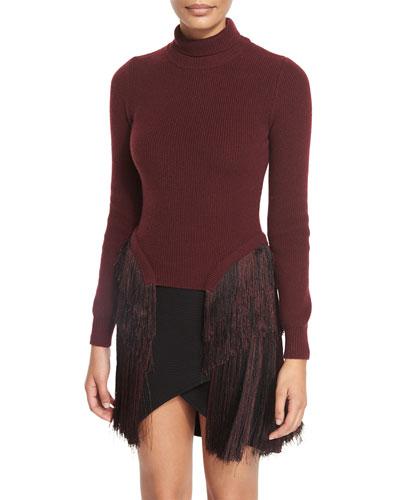 Turtleneck Sweater w/Fringed Sides, Burgundy