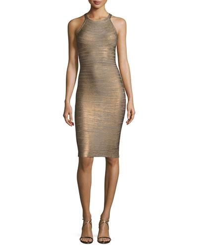Sleeveless Metallic Halter Bandage Dress, Silver
