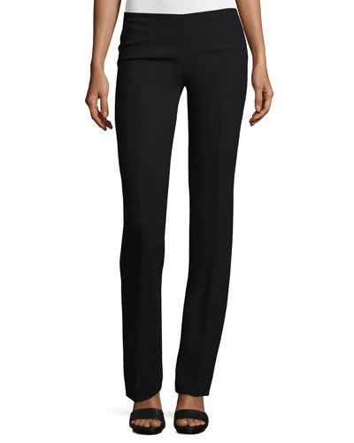 Straight-Leg Crepe Pants, Black