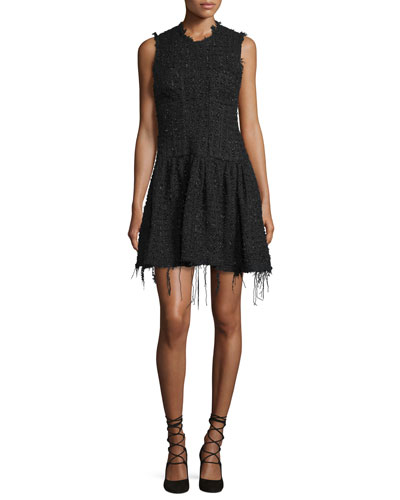 Raw-Edge Tweed Mini Dress, Black