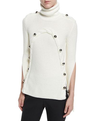 Button-Trim Slit-Sleeve Sweater, Ivory