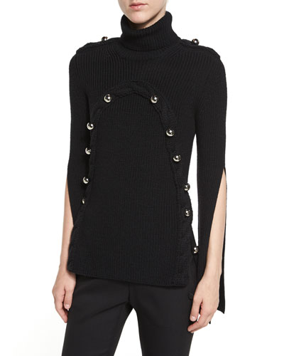 Button-Trim Turtleneck Sweater, Black