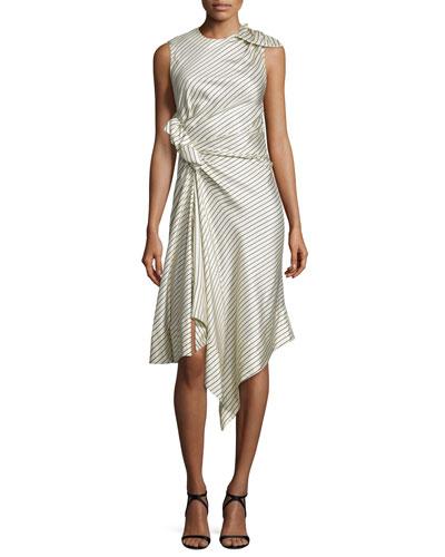 Asymmetric Pinstriped Silk Midi Dress, Ivory