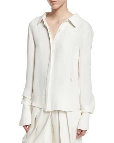 Long-Sleeve Flutter Tieback Blouse, Ivory