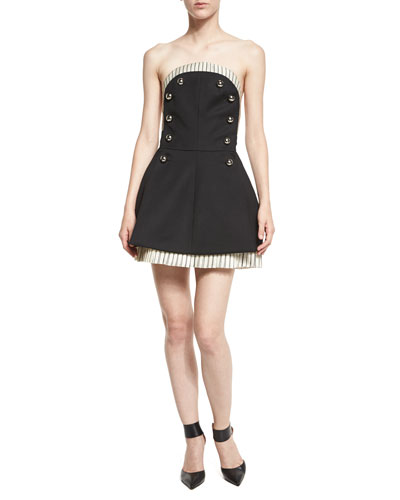 Strapless Button-Front Dress w/Pinstripe Lining, Black