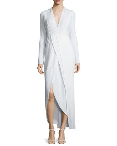 Long-Sleeve Pleated Faux-Wrap Dress, White