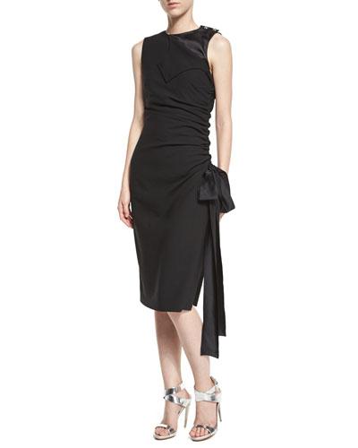 Sleeveless Ruched Dress w/Satin Trim, Black