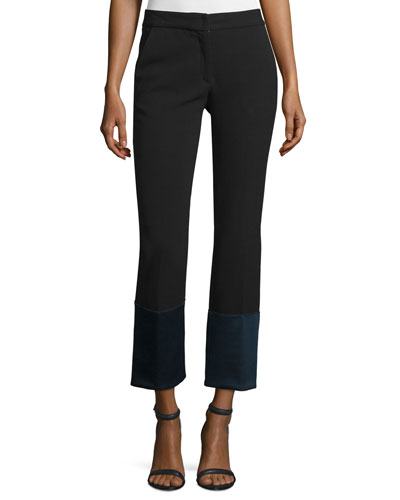 Cuffed Flare-Leg Pants, Black/Navy