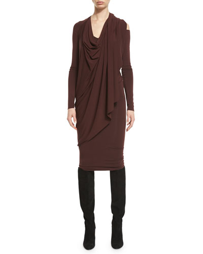 Draped Jersey Cold-Shoulder Dress, Wine