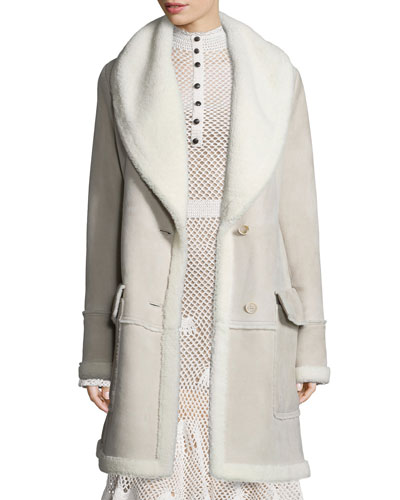 Shearling-Lined Two-Button Coat, Taupe