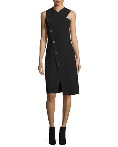Sleeveless Button-Trim Dress, Black