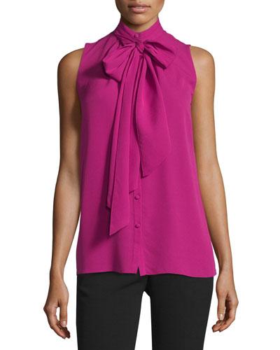 Sleeveless Button-Front Tie-Neck Blouse, Fuchsia