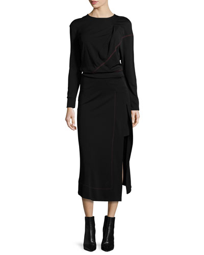 Long-Sleeve Midi Dress w/Contrast Stitching, Black/Red