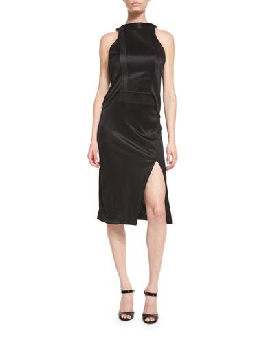 Sleeveless Shiny Jersey Dress, Black