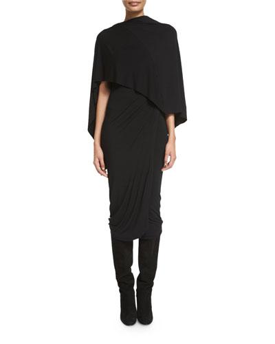 Stretch-Knit Jersey Capelet Dress, Black