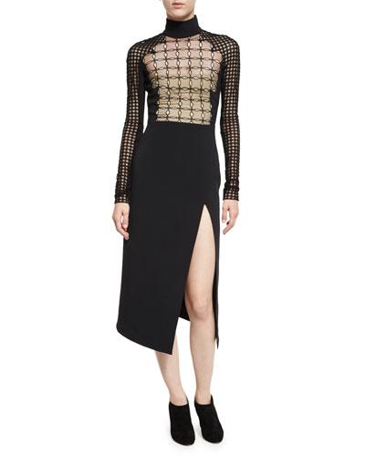 Long-Sleeve Lace Mock-Neck Midi Dress, Black