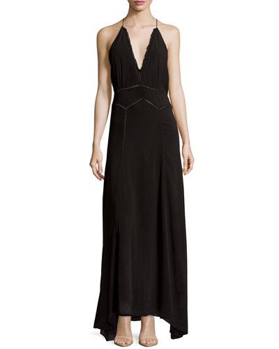 Sleeveless Scalloped Halter Maxi Dress, Black
