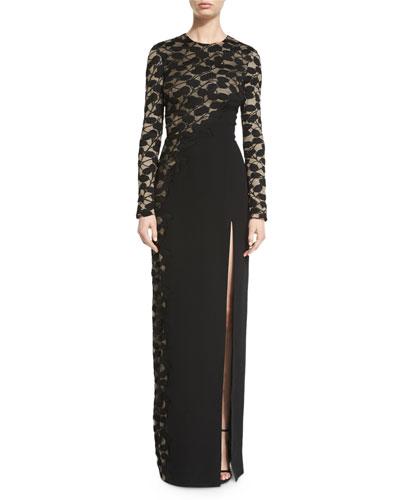 Long-Sleeve Asymmetric Cutaway Lace Gown, Black/Nude