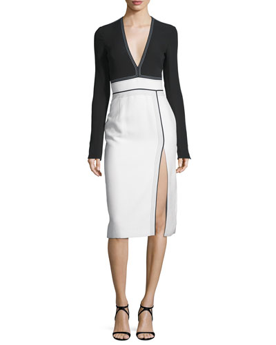 Long-Sleeve V-Neck Combo Dress, Lilly White