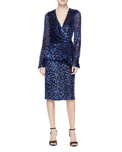 Long-Sleeve Wrap-Front Devoré Dress, Ultramarine