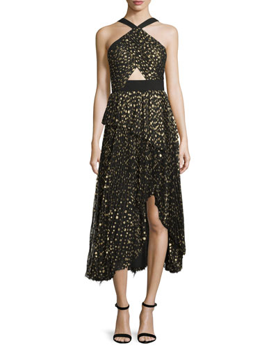 Metallic Polka Dot Chiffon Halter Dress, Black/Gold