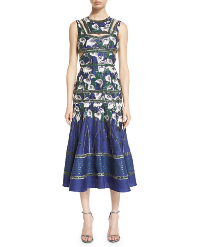 Sleeveless Sequined Calla Lily Dress, White/Spruce/Ultramarine