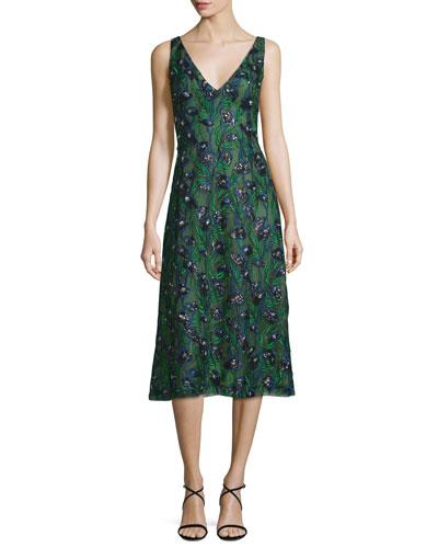 Sleeveless Sequined Calla Lily Dress, Spruce/Ultramarine