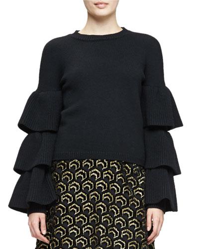 Knit Ruffle-Sleeve Sweater, Black