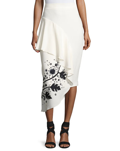 Leaf-Embroidered High-Waist Cady Skirt, White/Black
