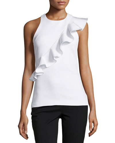 Sleeveless Asymmetric Ruffle Top, White