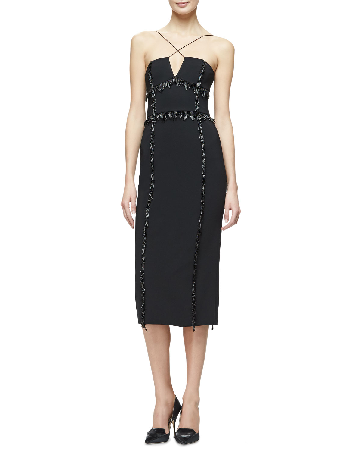 Lena Crisscross-Front Sheath Dress, Black