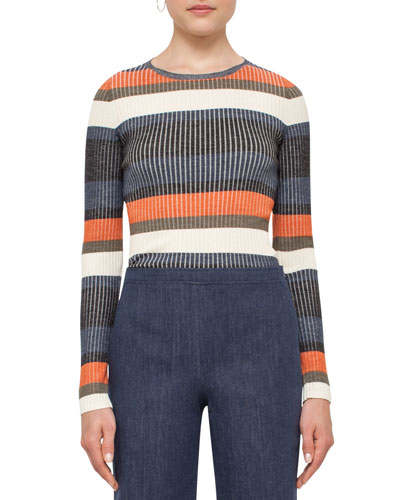 Stripe Ribbed Wool Sweater, Multi