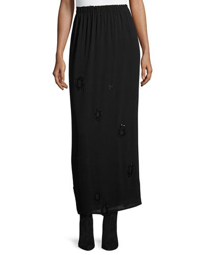 Beaded Georgette Maxi Skirt