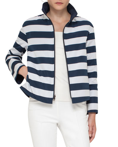 Striped Stand-Collar Jacket, Navy/Cream