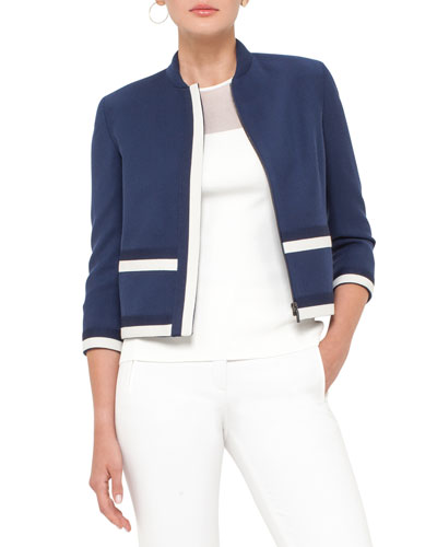 Colorblock Wool Gabardine Jacket, Deep Blue/Cream