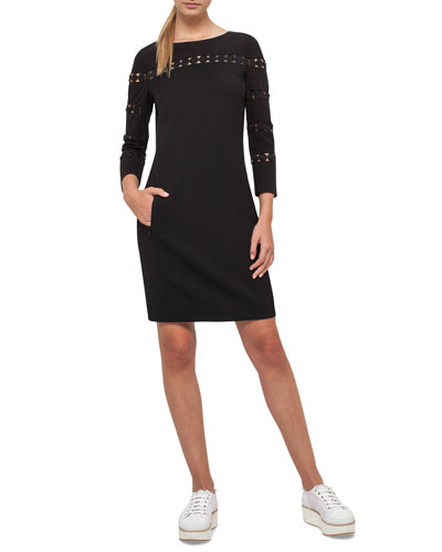 Punto Lace-Trim Shift Dress, Black